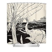 The Elephant's Child Going To Pull Bananas Off A Banana-tree Shower Curtain by Joseph Rudyard Kipling
