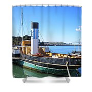 The Eppleton Hall Paddlewheel Tugboat - 1914 Shower Curtain by Daniel Hagerman