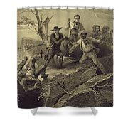 The Fight Between George And Tom Loker Shower Curtain by Adolphe Jean-Baptiste Bayot