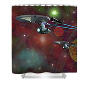 The Final Frontier Shower Curtain by Michael Rucker