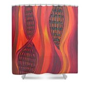 The Fire Molecule Shower Curtain by Daina White