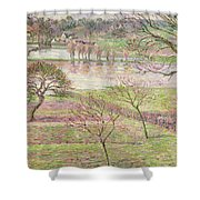 The Flood At Eragny Shower Curtain by Camille Pissarro