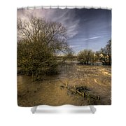 The Floods At Stoke Canon  Shower Curtain by Rob Hawkins