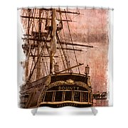 The Gleaming Hull Of The Hms Bounty Shower Curtain by Debra and Dave Vanderlaan