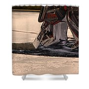 The Goalies Crease Shower Curtain by Karol Livote