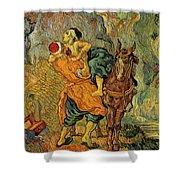 The Good Samaritan After Delacroix 1890 Shower Curtain by Vincent Van Gogh