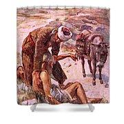 The Good Samaritan Shower Curtain by Harold Copping