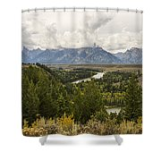 The Grand Tetons Over Snake River - Grand Teton National Park - Wyoming Shower Curtain by Brian Harig