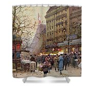 The Great Boulevards Shower Curtain by Eugene Galien-Laloue