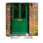 The Green Door Shower Curtain by Mark Llewellyn