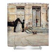 The Groom  Shower Curtain by Giuseppe De Nittis