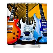 The Guitars Of Jimmy Dence - The Kingpins Shower Curtain by David Patterson