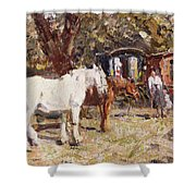 The Gypsy Encampment Shower Curtain by Harry Fidler