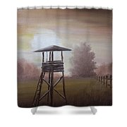 The Hunting Lodge In The Field Shower Curtain by Andreja Dujnic
