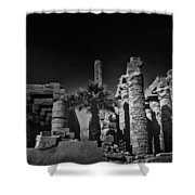 The Karnak Temple Bw Shower Curtain by Erik Brede