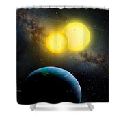 The Kepler 35 System Shower Curtain by Movie Poster Prints