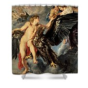 The Kidnapping Of Ganymede Shower Curtain by Rubens