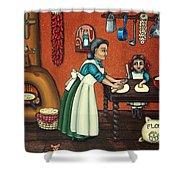 The Lesson Or Making Tortillas Shower Curtain by Victoria De Almeida