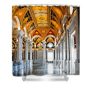 The Library Shower Curtain by Greg Fortier