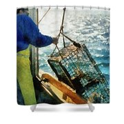 The Lobsterman Shower Curtain by Michelle Calkins