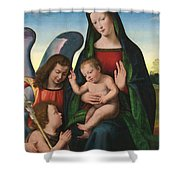 The Madonna And Child With The Young Saint John The Baptist And An Angel  Shower Curtain by Giuliano Buigardini and Mariotto Albertinelli