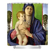 The Madonna Of The Trees Shower Curtain by Giovanni Bellini
