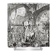 The Man On The Rack Plate II From Carceri D'invenzione Shower Curtain by Giovanni Battista Piranesi