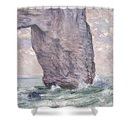 The Manneporte Seen From Below Shower Curtain by Claude Monet