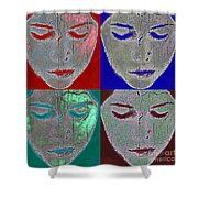 the mask Shower Curtain by Stylianos Kleanthous