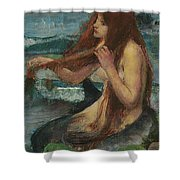 The Mermaid Shower Curtain by John William Waterhouse