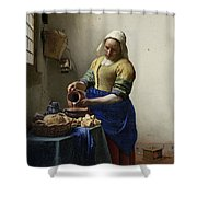 The Milkmaid Shower Curtain by Johannes Vermeer