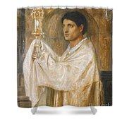 The Mystery Of Faith Shower Curtain by Simeon Solomon