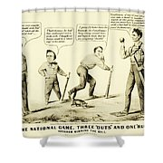 The National Game - Abraham Lincoln Plays Baseball Shower Curtain by Digital Reproductions