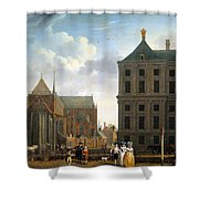 The Nieuwe Kerk And The Rear Of The Town Hall In Amsterdam Shower Curtain by Isaak Ouwater