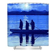 The Night Fishermen Shower Curtain by SophiaArt Gallery