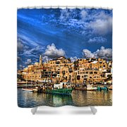 the old Jaffa port Shower Curtain by Ron Shoshani