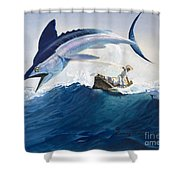 The Old Man And The Sea Shower Curtain by Harry G Seabright