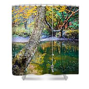 The Old Swimming Hole Shower Curtain by Edward Fielding
