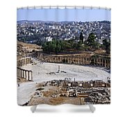 The Oval Plaza At Jerash In Jordan Shower Curtain by Robert Preston