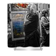 The Painter And His Paintings Shower Curtain by Erik Brede