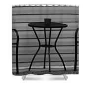 The Patio In Black And White Shower Curtain by Rob Hans