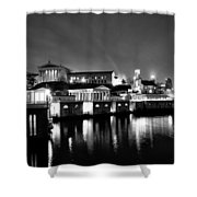 The Philadelphia Waterworks In Black And White Shower Curtain by Bill Cannon