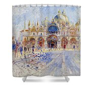 The Piazza San Marco Shower Curtain by Pierre Auguste Renoir