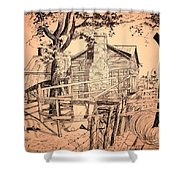 The Pig Sty Shower Curtain by Kip DeVore