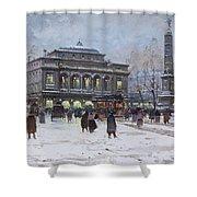 The Place Du Chatelet Paris Shower Curtain by Eugene Galien-Laloue