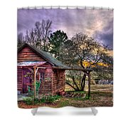 The Play House At Sunset Near Lake Oconee. Shower Curtain by Reid Callaway