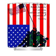 The Pledge Of Allegiance - Iwo Jima 20130210 Shower Curtain by Wingsdomain Art and Photography