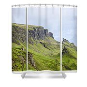 The Quiraing Triptych Shower Curtain by Chris Thaxter