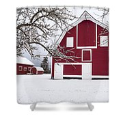 The Red Barn Shower Curtain by Fran Riley