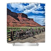 The Red Cliffs Shower Curtain by Gregory Ballos
